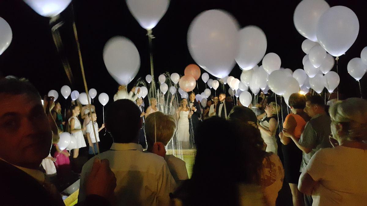 balony led z helem na wesele